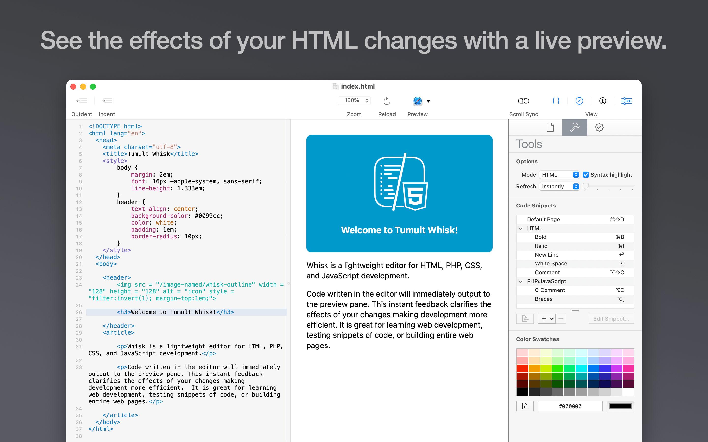 Tumult Whisk Mac 破解版 轻量级网页编辑器